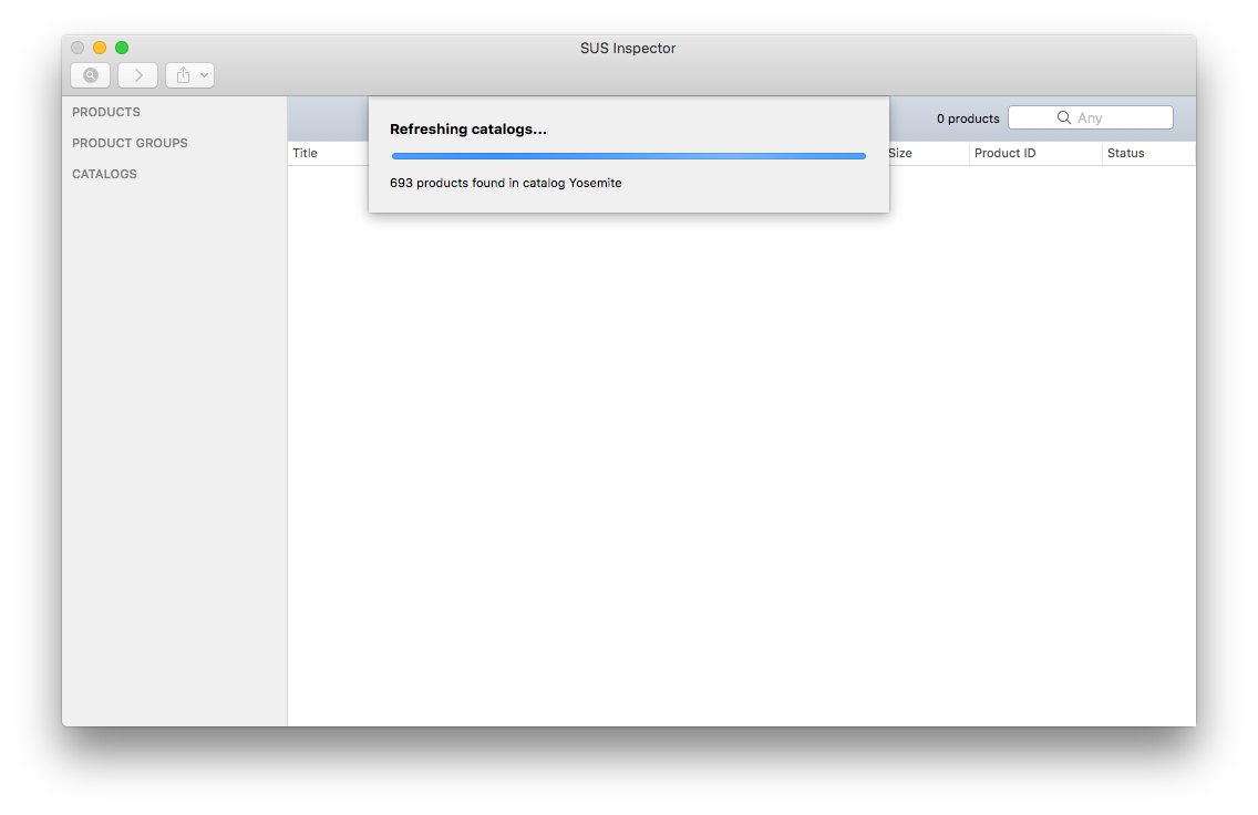 SUS Inspector syncing catalogs